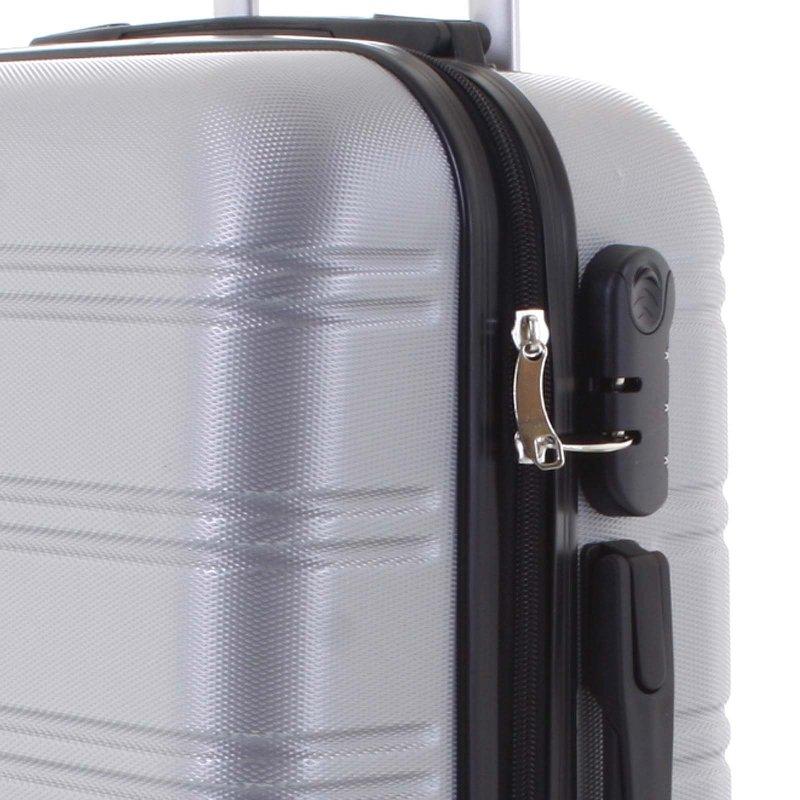 Kvalitní kufr skořepina Agrado, vel.I, 4. kolečka, stříbrný