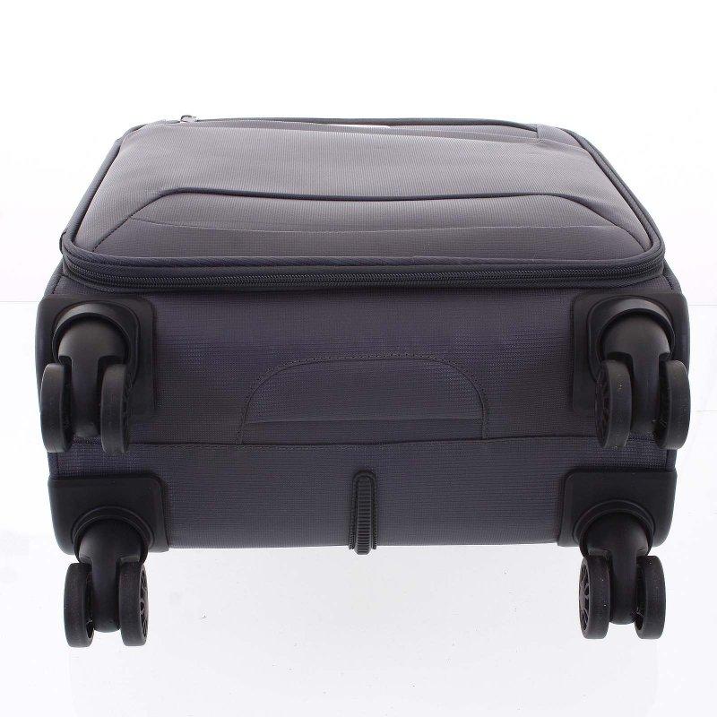 Lehký látkový kufr Menqite šedý vel. III, 4. kolečka