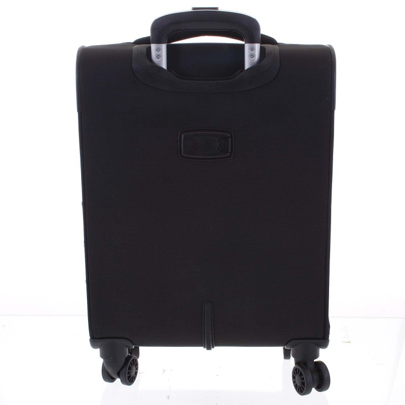 Lehký látkový kufr Menqite černý vel. II, 4. kolečka