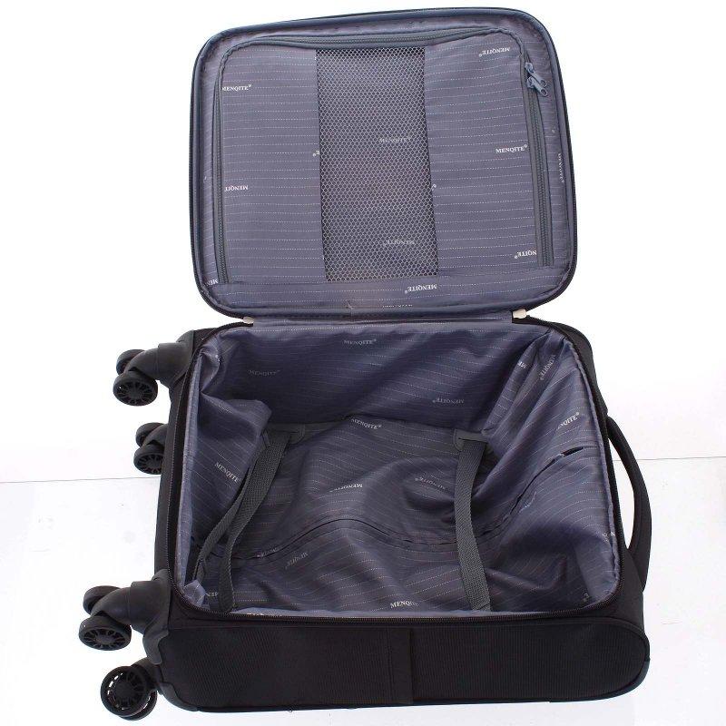 Lehký látkový kufr Menqite černý vel. III, 4. kolečka