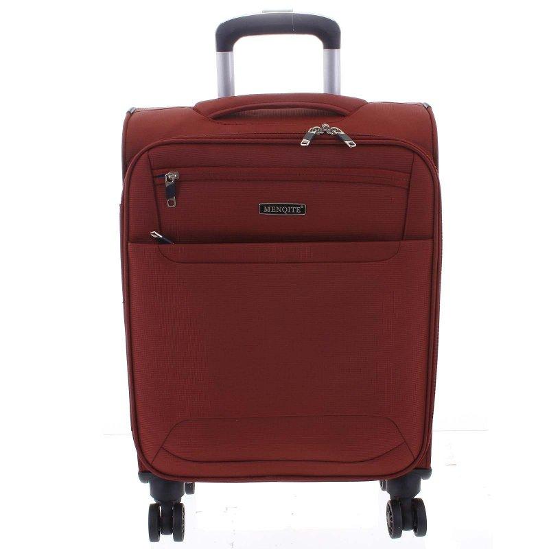 Lehký látkový kufr Menqite červený vel. II, 4. kolečka