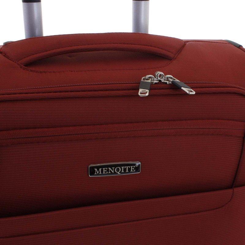 Lehký látkový kufr Menqite červený vel. III, 4. kolečka