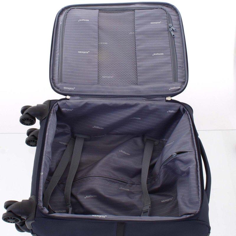 Lehký látkový kufr Menqite modrý vel. II, 4. kolečka