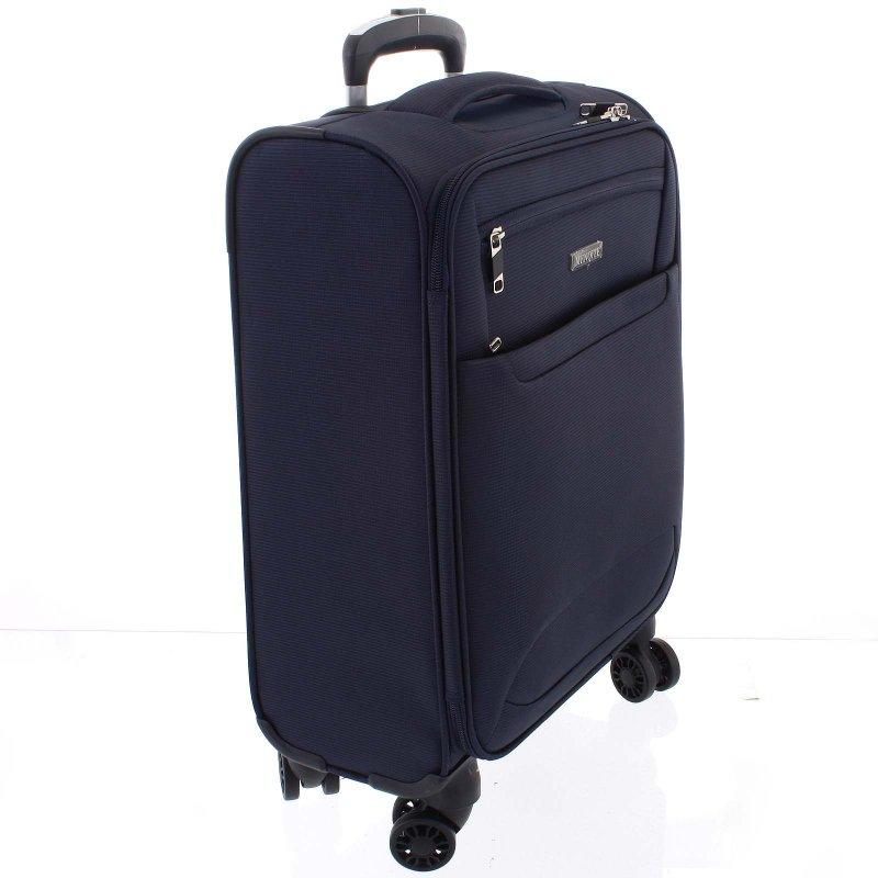 Lehký látkový kufr Menqite modrý vel. III, 4. kolečka