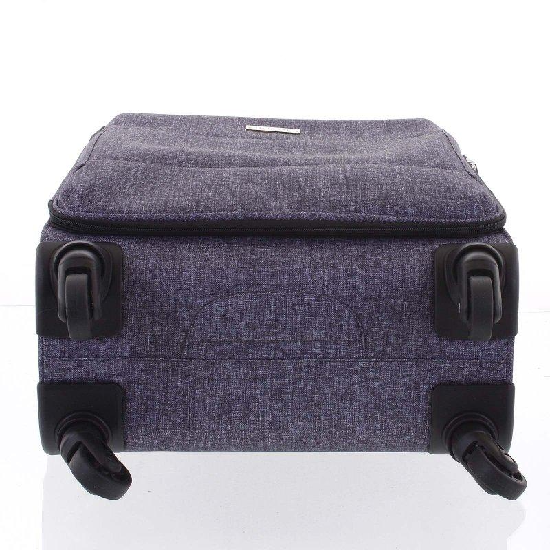 Látkový odlehčený kufr Menqite 4.kolečka, velikost III, světle šedý