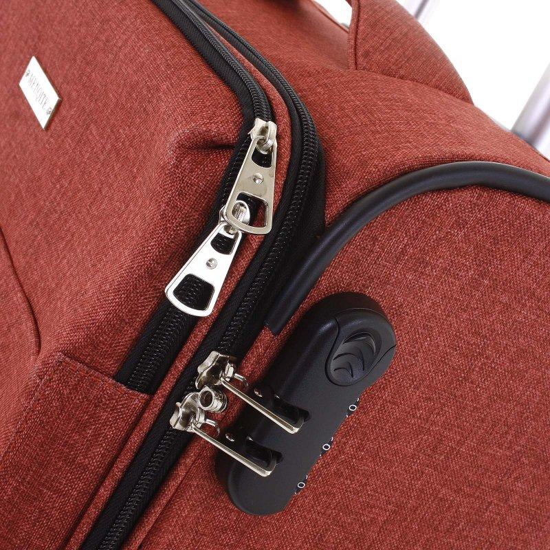 Látkový odlehčený kufr Menqite 4.kolečka, velikost II, cihlově červený