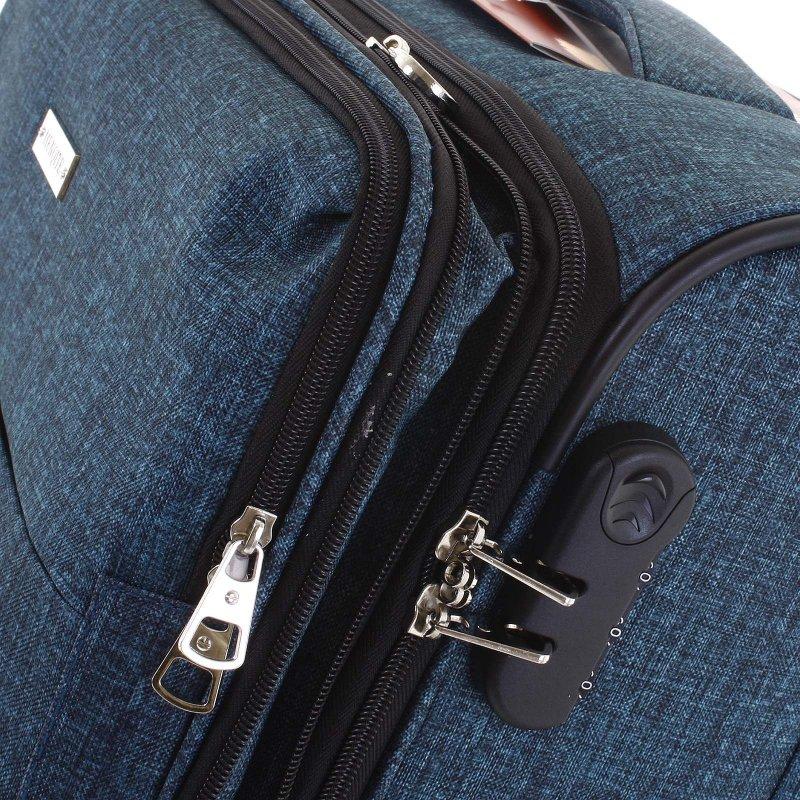 Látkový odlehčený kufr Menqite 4.kolečka, velikost II, zelený