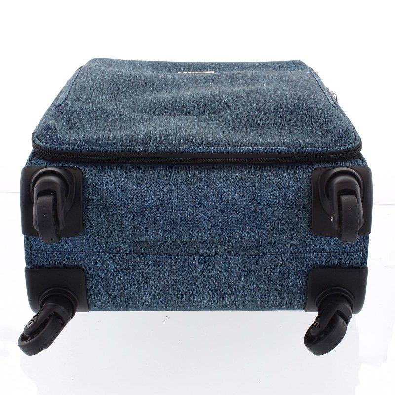 Látkový odlehčený kufr Menqite 4.kolečka, velikost III, zelený