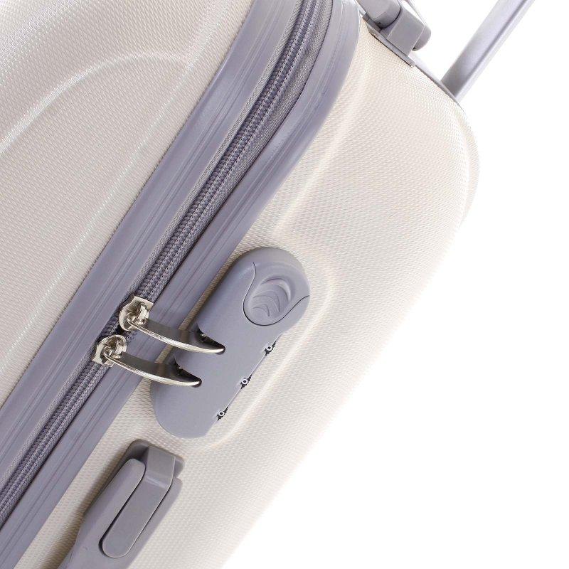 Elegantní kufr skořepinový Agrado vel.III, 4.kolečka, krémový