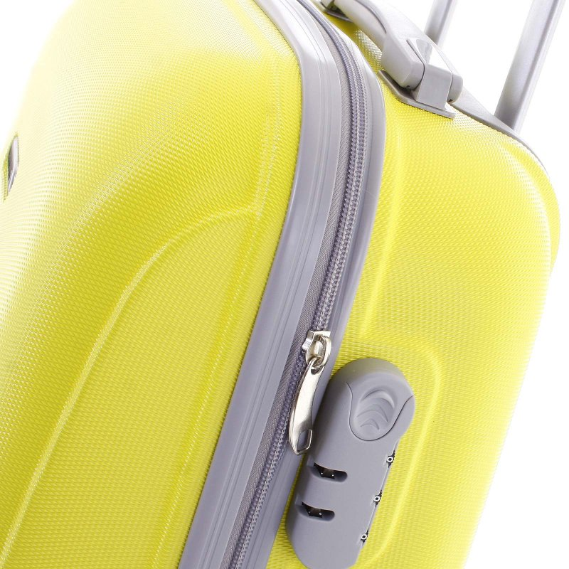 Elegantní kufr skořepinový Agrado vel.II 4.kolečka, žlutý