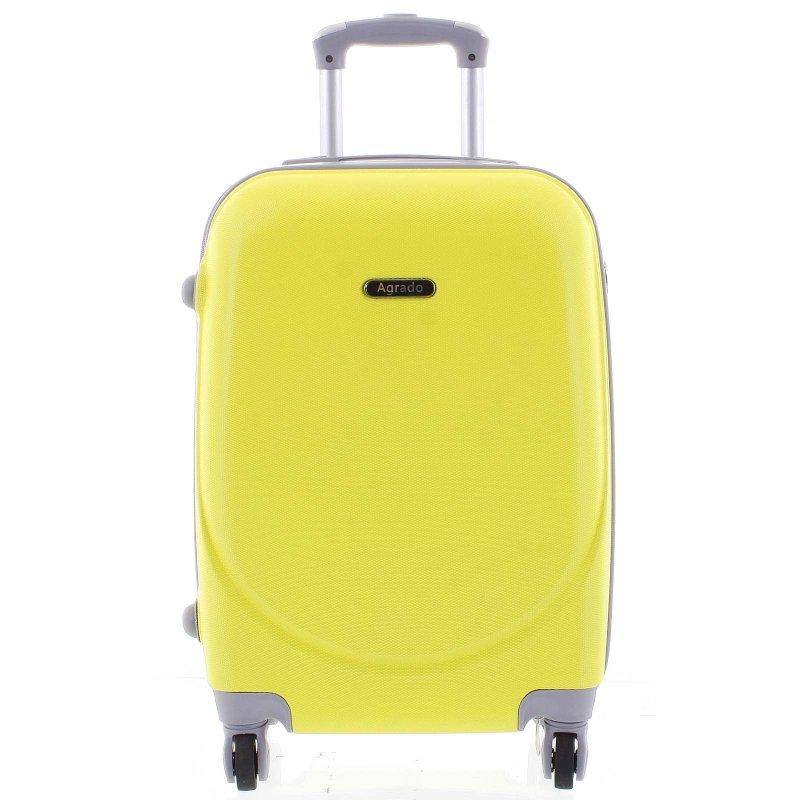 Elegantní kufr skořepinový Agrado vel.III, 4.kolečka, žlutý