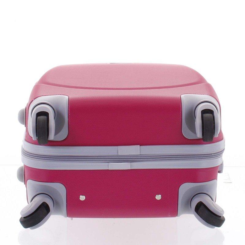 Elegantní kufr skořepinový Agrado vel.III, 4.kolečka, růžový