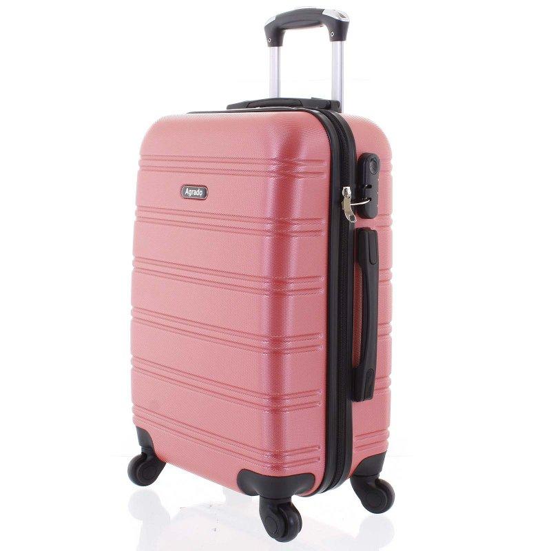 Kvalitní kufr skořepina Agrado, vel.III, 4. kolečka, růžový