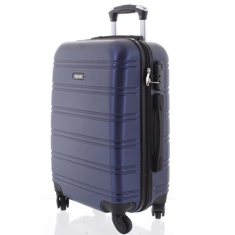 Kvalitní kufr skořepina Agrado, vel.II, 4. kolečka, tmavě modrý