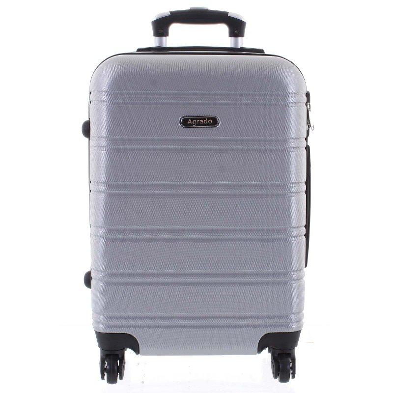 Kvalitní kufr skořepina Agrado, vel.III, 4. kolečka, stříbrný