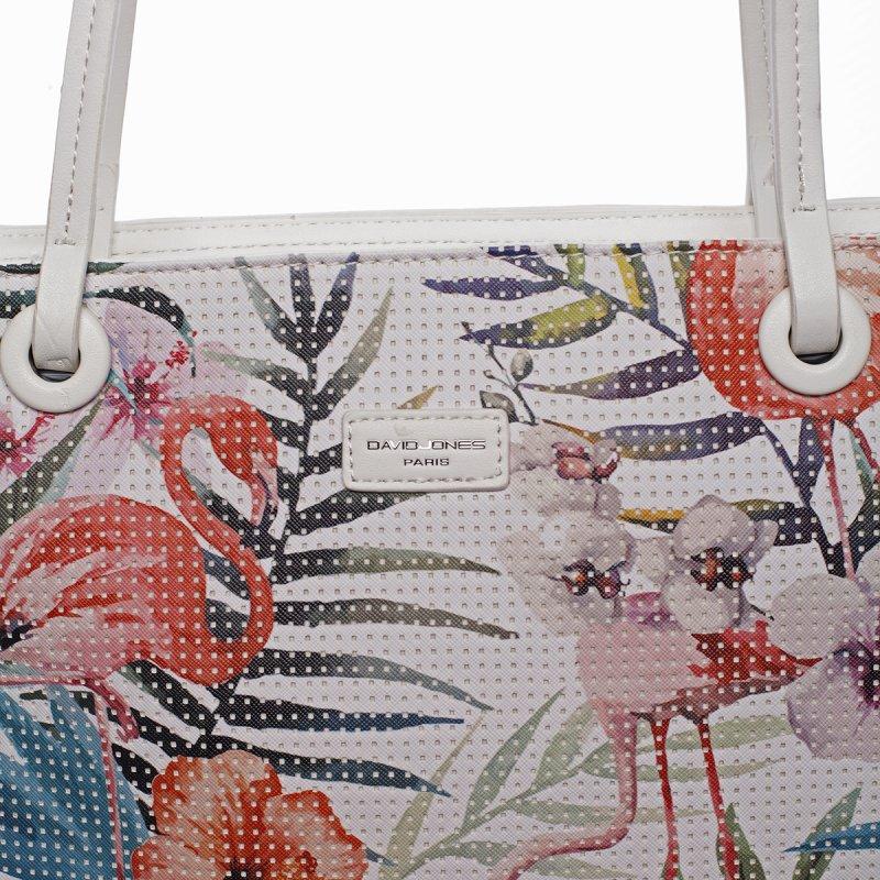 Svěží dámská kabelka s květy přes rameno, bílá