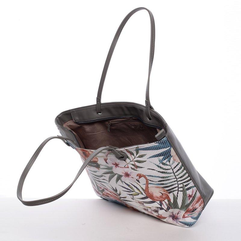 Svěží dámská kabelka s květy přes rameno, šedá