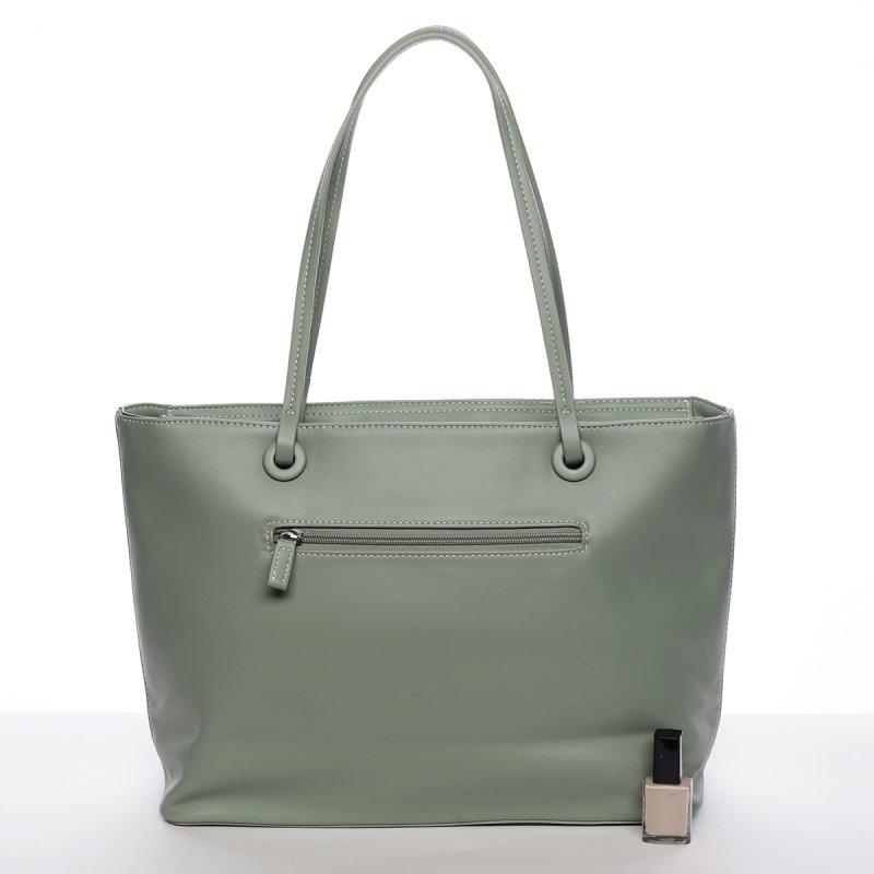 Svěží dámská kabelka s květy přes rameno, jablíčkově zelená