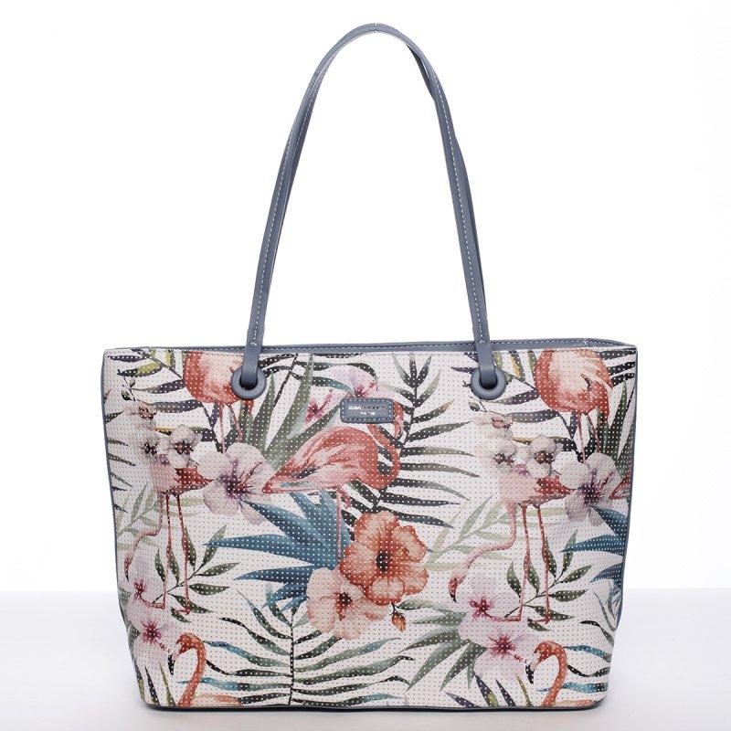 Svěží dámská kabelka s květy přes rameno, modrá