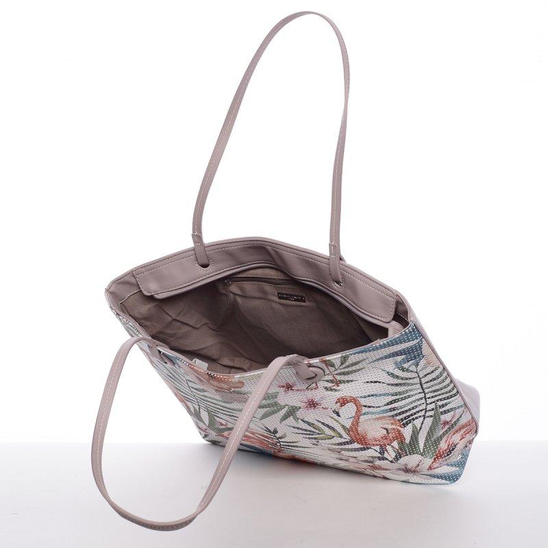 Svěží dámská kabelka s květy přes rameno, pastelově fialová
