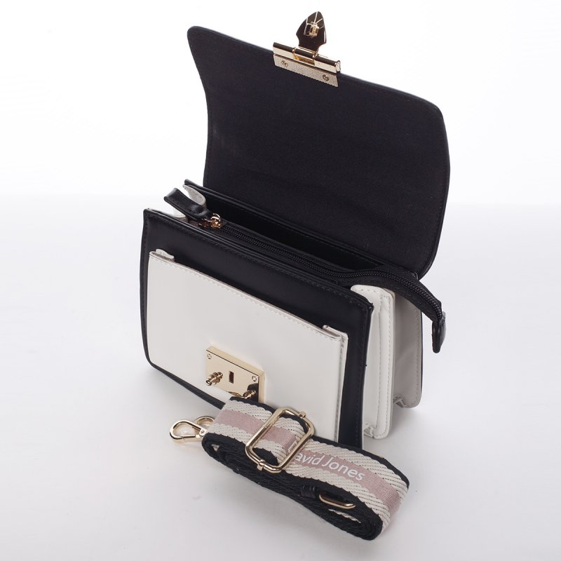 Originální crossbody kabelka ODETTE, černo/bílá