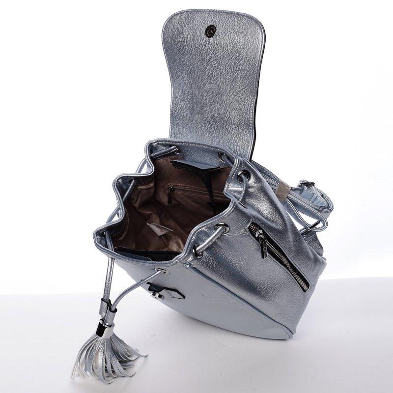 Impozantní dámský koženkový batůžek Timea šedý