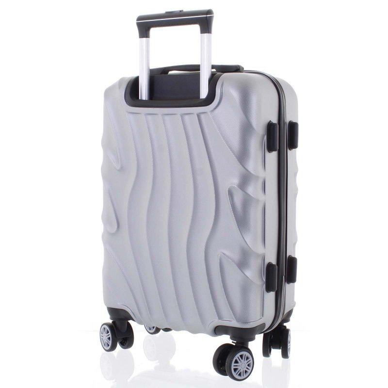 Moderní kufr stříbrný, 4. kolečka, velikost I