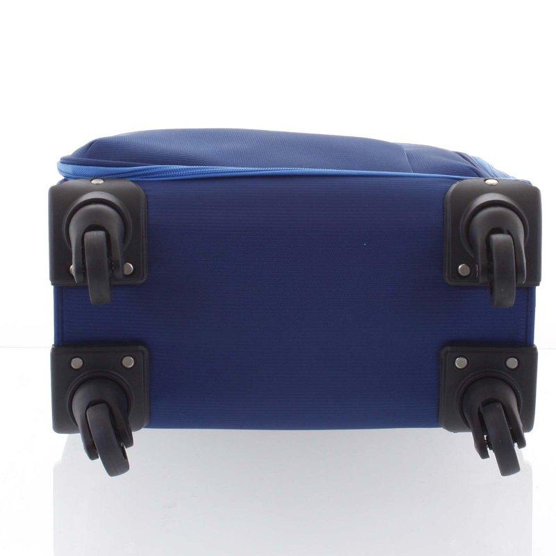 Kvalitní látkový kufr na kolečkách 4.kolečka, velikost I, modrý