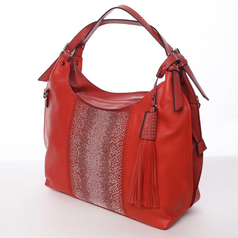 Moderní měkká kabelka přes rameno Ilaria, červená