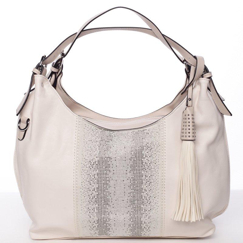 Moderní měkká kabelka přes rameno Ilaria, béžová