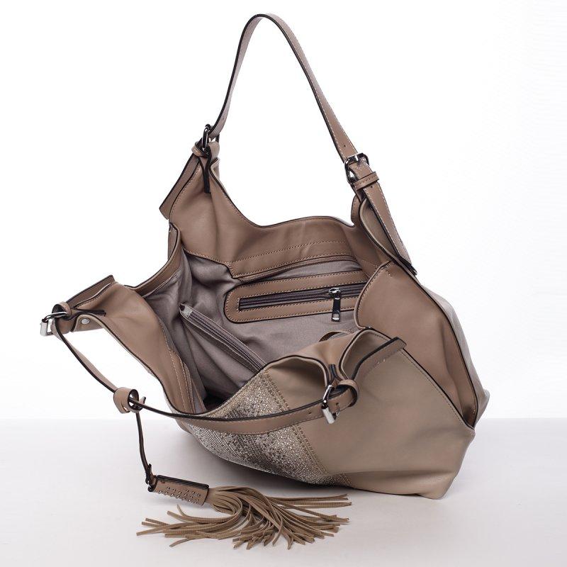 Moderní měkká kabelka přes rameno Ilaria, khaki