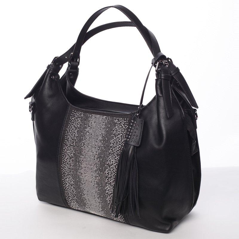 Moderní měkká kabelka přes rameno Ilaria, černá