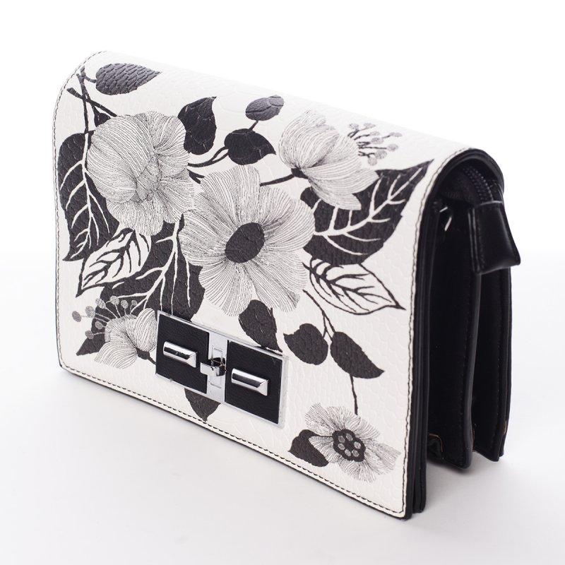Svěže jarní kabelka crossbody Valentina s květy, černo-bílá