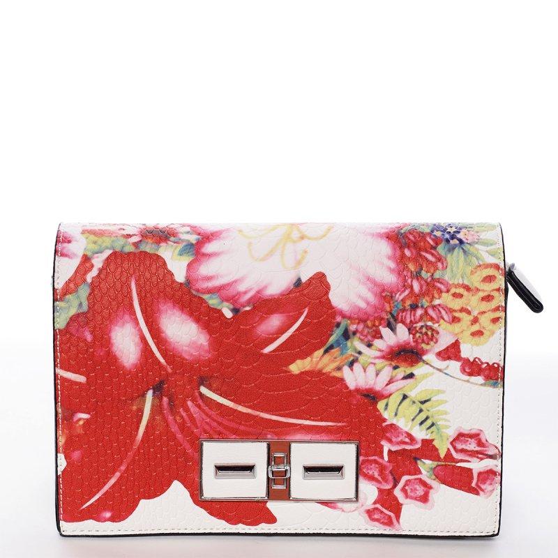Svěže jarní kabelka crossbody Valentina s květy, bílo-červená
