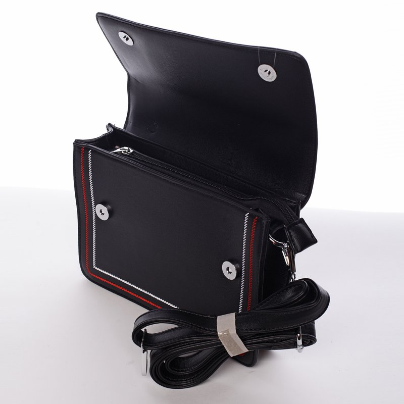 Elegantní pevná crossbody kabelka Laura, černá