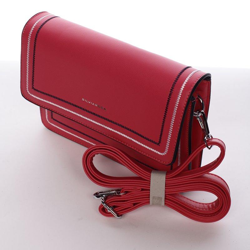 Elegantní pevná crossbody kabelka Laura, červená růž