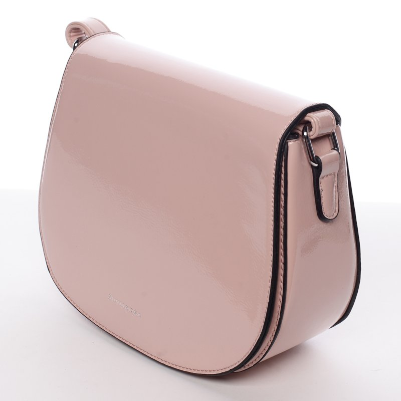 Elegantní lakovaná crossbody kabelka Giorgia, růžová