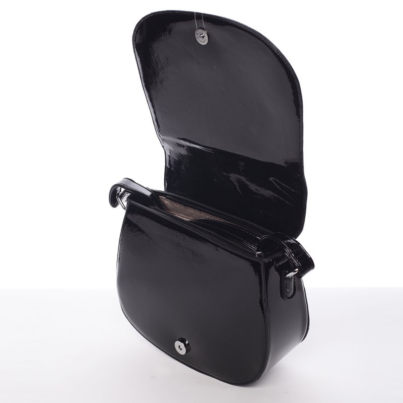 Elegantní lakovaná crossbody kabelka Giorgia, černá