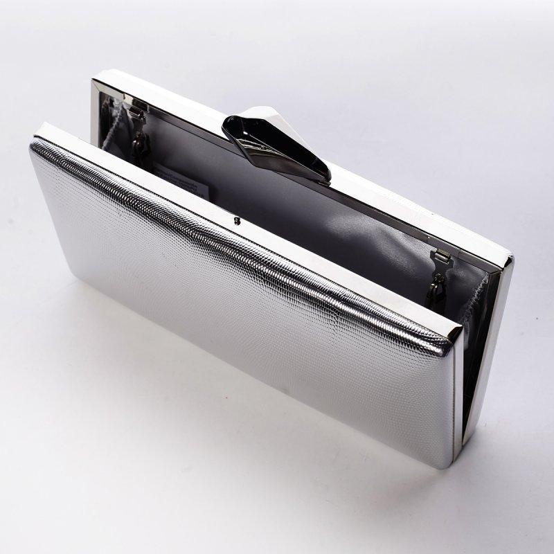 Luxusní kovově lesklé dámské psaníčko Estafania, stříbrné