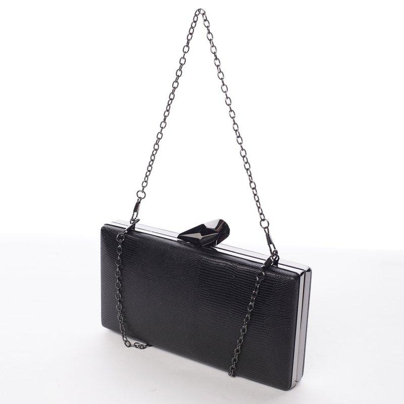 Luxusní kovově lesklé dámské psaníčko Estafania, černé
