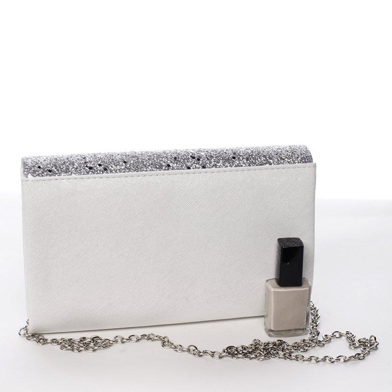 Moderní psaníčko s třpytivou klopou Encarnición, stříbrné