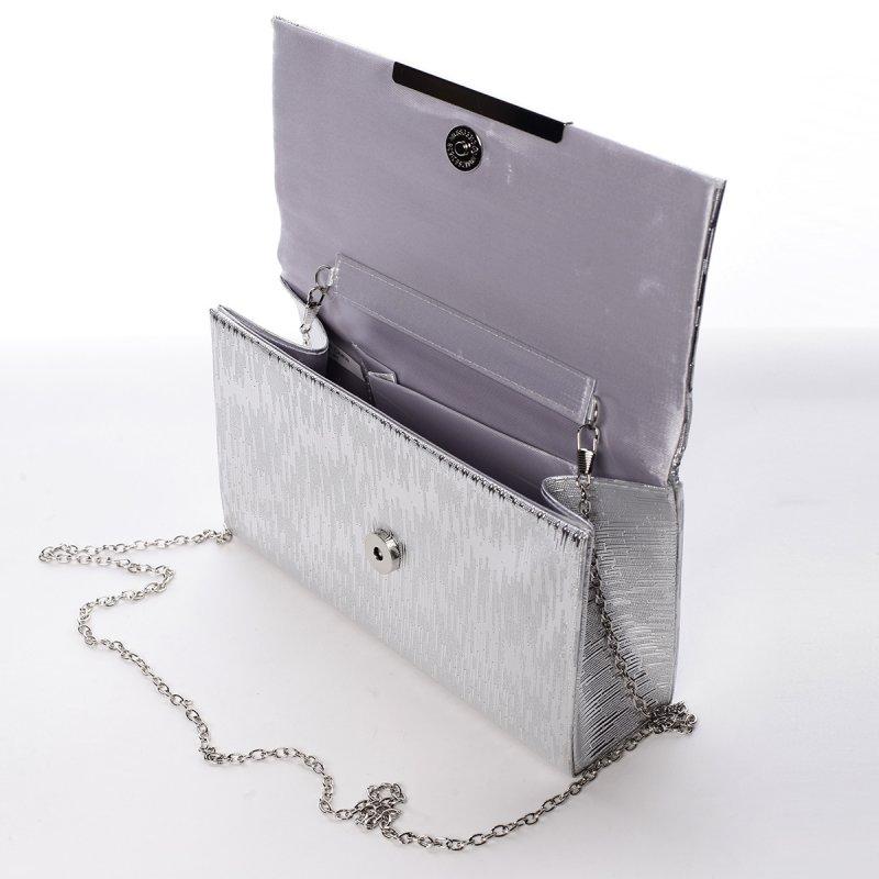 Velice moderní dámské psaníčko Graciana, stříbrné