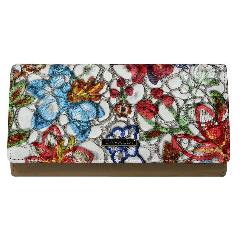 Elegantní kožená peněženka Cavaldi Fiona, květinová