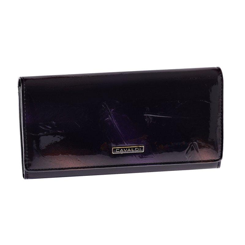 Nápaditá lesklá kožená peněženka Cavaldi Hermosa, černá