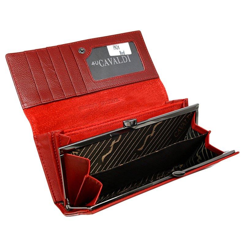 Červená kožená prostorná peněženka Cavaldi Nazarena