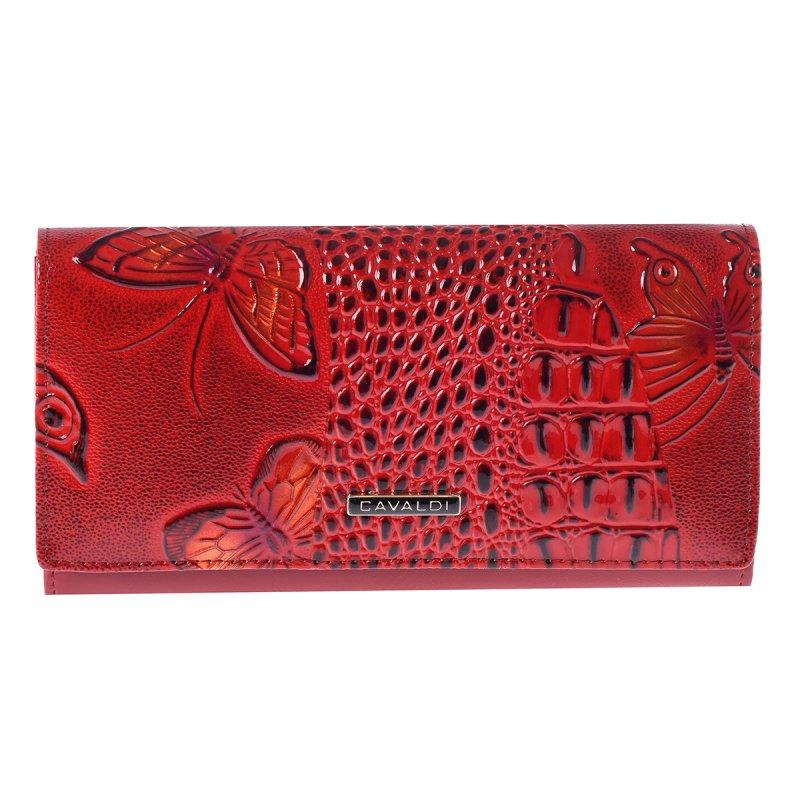 Prostorná nadčasová kožená peněženka Nevada, červená