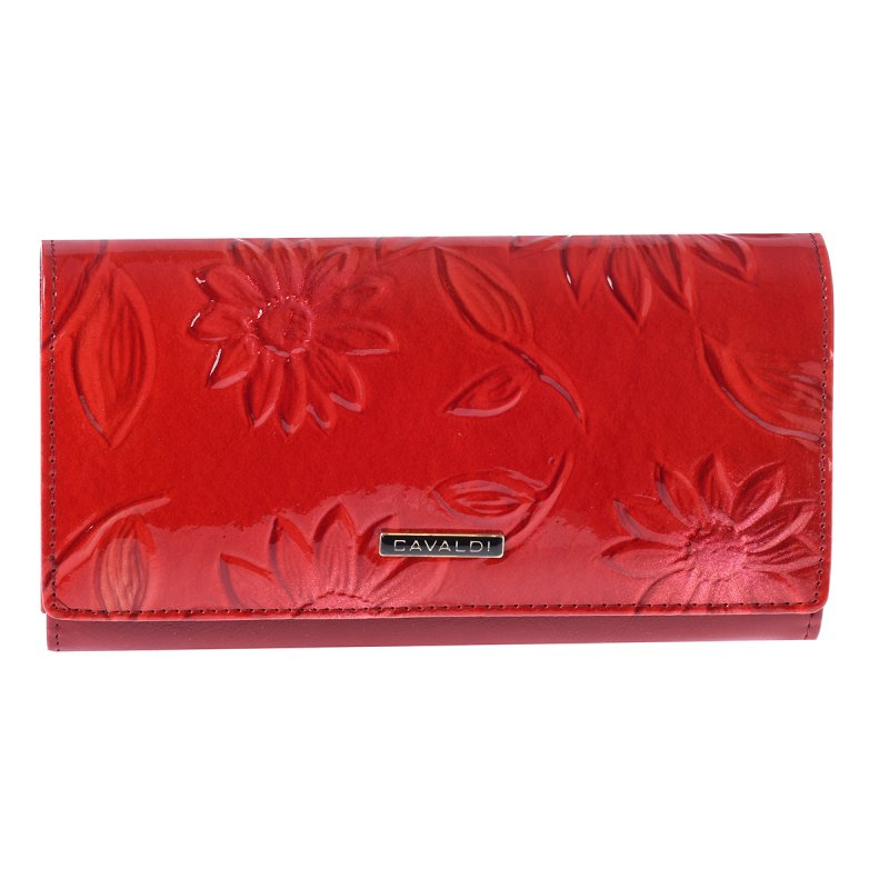 Peněženka z kůže se vzory Rosa, červená