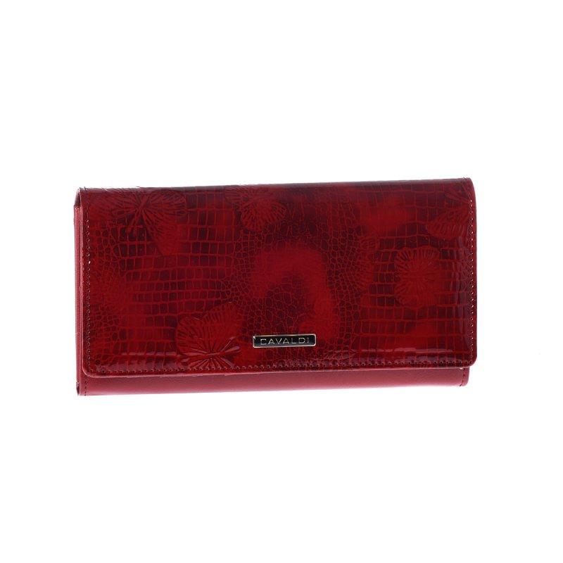 Elegantní kožená paněženka s originálním vzorem, červená