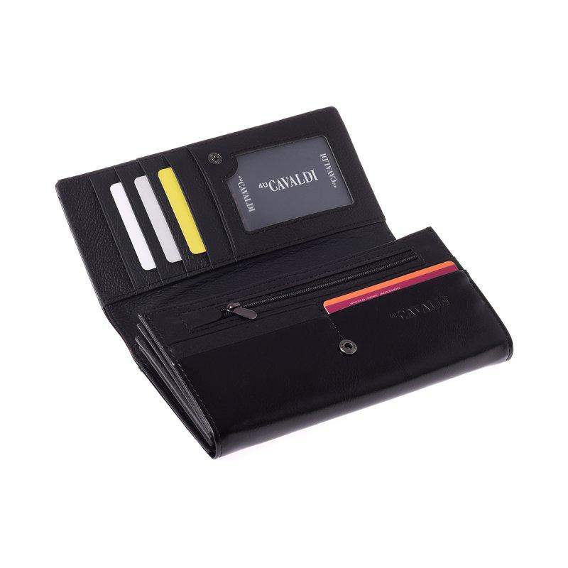 Tajemná kožená peněženka se vzorem pírek, černá