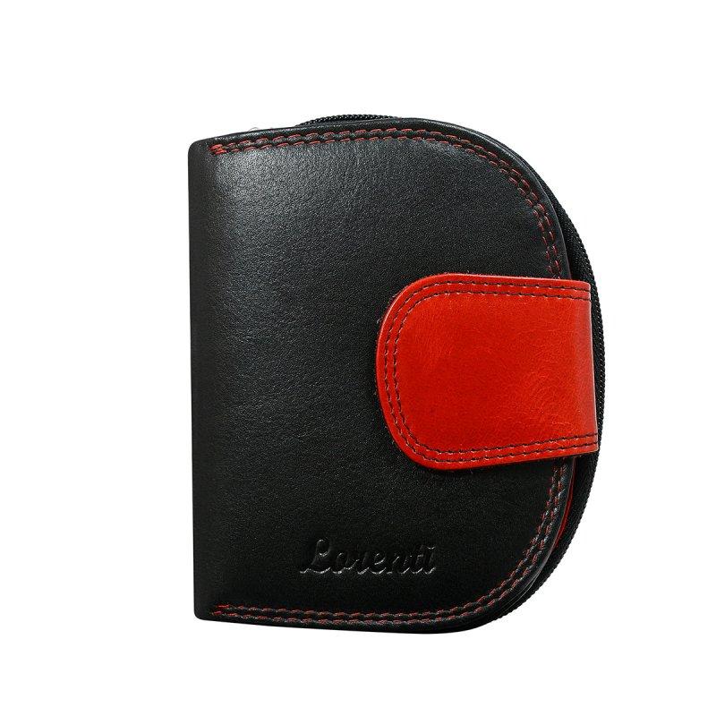 Dámská hravá kožená peněženka Paulína červená/černá